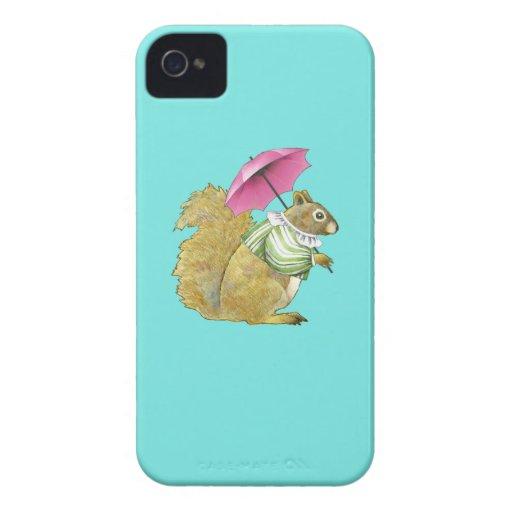 Caso 4/4S del iPhone de la ardilla del parasol Case-Mate iPhone 4 Fundas
