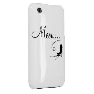 Caso 4s del iPhone 4 del gato negro del maullido iPhone 3 Cárcasas
