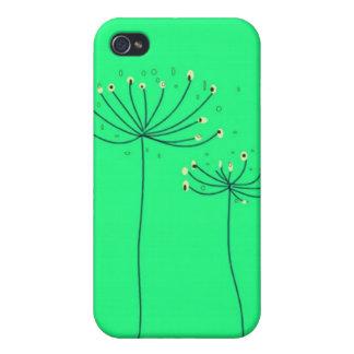 Caso 4S del verde 4 de la silueta de la flor del d iPhone 4/4S Fundas