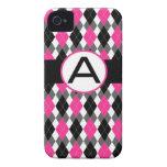"Caso ""A "" del iPhone 4 de Argyle de las rosas fuer Case-Mate iPhone 4 Cárcasas"