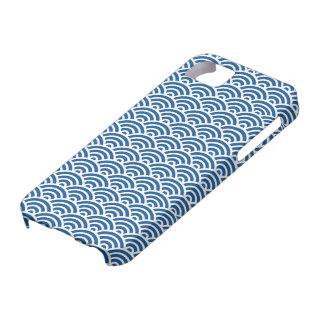 Caso abstracto azul marino del modelo de onda de iPhone 5 fundas
