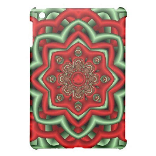 Caso abstracto decorativo en rojo y verde
