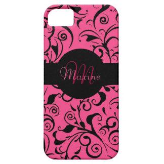 Caso adaptable del iphone 5 del damasco rosado iPhone 5 fundas