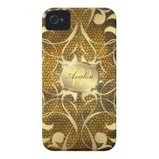 Caso afiligranado de Barely There del oro del oro  iPhone 4 Funda