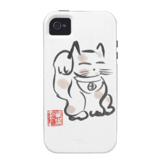 Caso afortunado del iPhone del gato iPhone 4 Fundas
