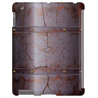Caso agrietado aherrumbrado del iPad del metal
