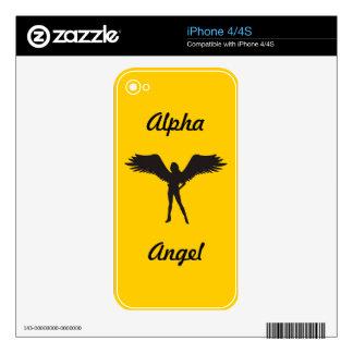 Caso alfa del iPhone 4 del ángel Calcomanías Para iPhone 4