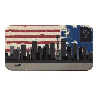 Caso americano del iPhone 4 del paisaje urbano de  Case-Mate iPhone 4 Protectores