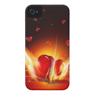 Caso ardiente del iPhone 4 de los corazones del am iPhone 4 Fundas