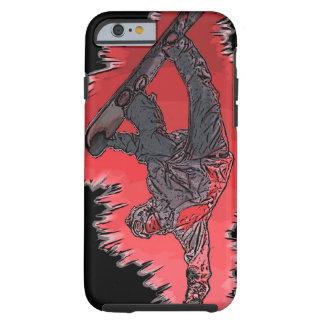 Caso artístico del iPhone 6 del snowboarder rojo Funda Para iPhone 6 Tough