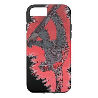 Caso artístico del iPhone 7 del snowboarder rojo Funda iPhone 7
