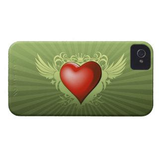 Caso ascendente con alas del iPhone 4 del corazón iPhone 4 Case-Mate Fundas