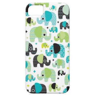 Caso azteca del iphone del verde azul del elefante iPhone 5 carcasa