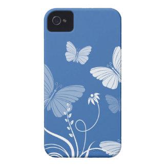 Caso azul marino del iPhone 4/4S de las mariposas iPhone 4 Cobertura