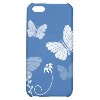 Caso azul marino del iPhone 4 de las mariposas