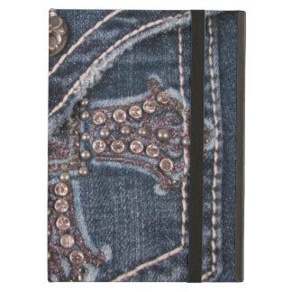 Caso Bejeweled del iPad del bolsillo del dril de a