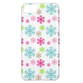 caso bonito del iphone de los copos de nieve