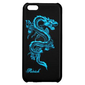 Caso brillante del iPhone 5 chinos azules del drag
