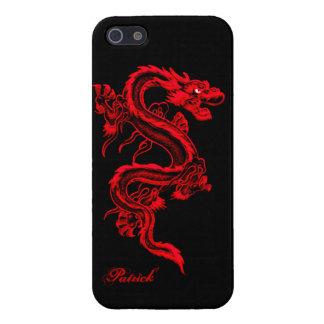 Caso brillante del iPhone 5 chinos rojos del dragó iPhone 5 Fundas