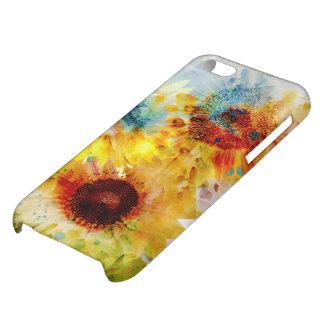Caso brillante del iPhone 5C de los girasoles de