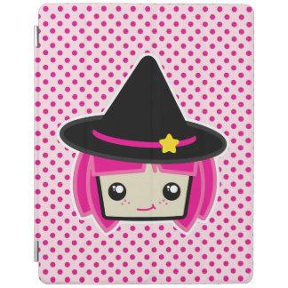 Caso cabelludo rosado del iPad de la bruja de Cover De iPad