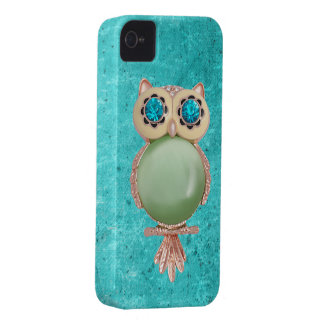 Caso caprichoso del iPhone 4 de la joya del búho iPhone 4 Case-Mate Cárcasas