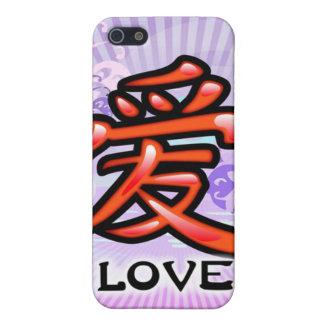 Caso chino del iPhone del símbolo del amor iPhone 5 Fundas