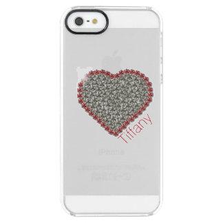 Caso claro de encargo del iPhone 5S del corazón Funda Clearly™ Deflector Para iPhone 5 De Uncommon