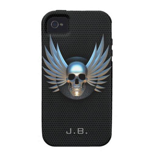 Caso con alas azul del iPhone 4 del cráneo Carcasa Vibe iPhone 4