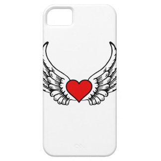 Caso con alas de Iphone del corazón iPhone 5 Case-Mate Cobertura