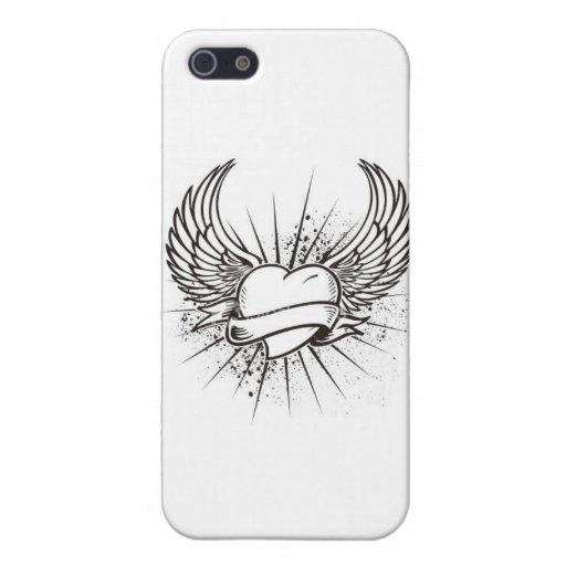 caso con alas del corazón iPhone 5 carcasas
