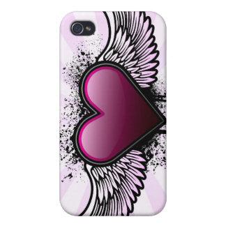 Caso con alas del iPhone del corazón iPhone 4 Fundas
