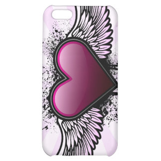 Caso con alas del iPhone del corazón