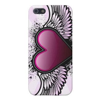 Caso con alas del iPhone del corazón iPhone 5 Protector