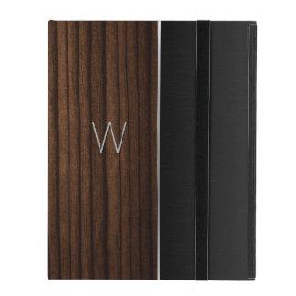 Caso con monograma del iPad de la mirada de madera