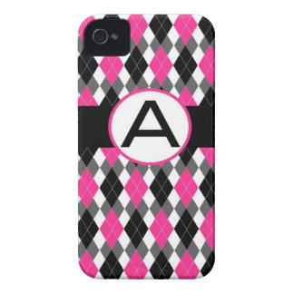 Caso con monograma del iPhone 4 de Argyle - rosas  Case-Mate iPhone 4 Cárcasas