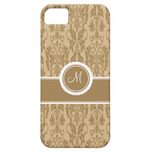Caso con monograma del iPhone 5 del damasco del ca iPhone 5 Case-Mate Carcasas