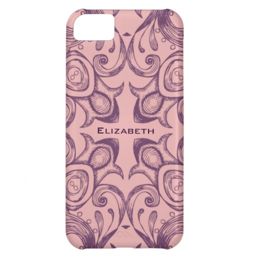 Caso con monograma del iPhone 5 del Victorian rosa