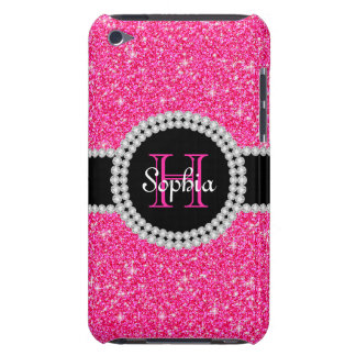 Caso con monograma del tacto del brillo rosado 4G iPod Touch Case-Mate Funda