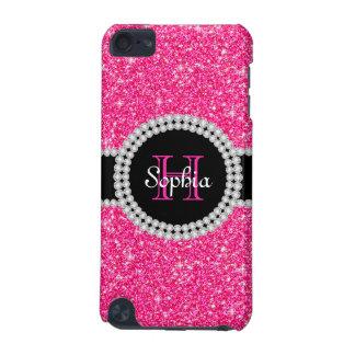 Caso con monograma del tacto del brillo rosado 5G Funda Para iPod Touch 5G