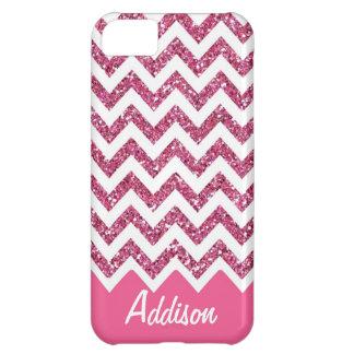 Caso conocido de Chevron BLING del brillo rosado Funda Para iPhone 5C