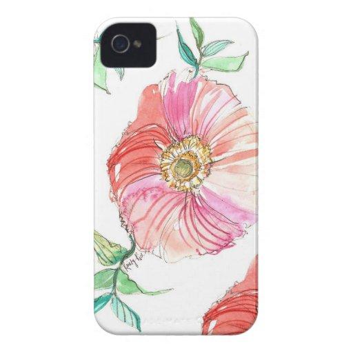 Caso coralino del iPhone de la acuarela de la iPhone 4 Case-Mate Carcasas