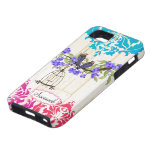 Caso coralino del iPhone del damasco de la aguamar iPhone 5 Case-Mate Fundas