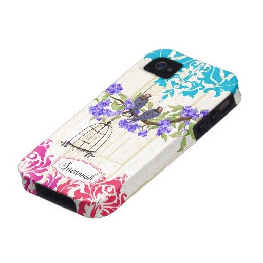 Caso coralino del iPhone del damasco de la Vibe iPhone 4 Fundas