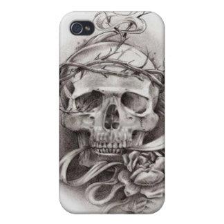 Caso cráneo de IPhone 4 con la corona de espinas iPhone 4/4S Funda