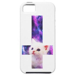 Caso cruzado invertido del gatito funda para iPhone SE/5/5s