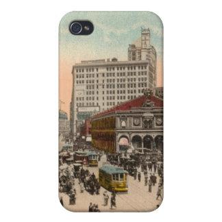 Caso cuadrado del iphone 4 de Broadway y de Herald iPhone 4 Fundas