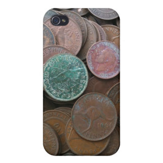 Caso cubierto moneda de Iphone 4 iPhone 4 Protectores
