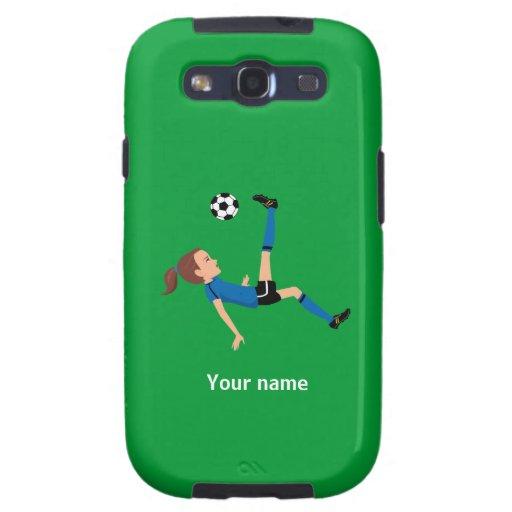 Caso de Barely There del fútbol del chica Galaxy S3 Protectores