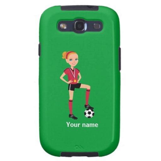 Caso de Barely There del fútbol del chica Galaxy S3 Protector